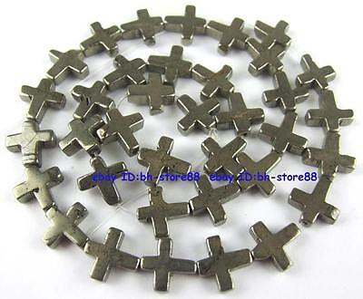 100% Natural 11x11mm Cross Flat Pyrite Beads 15''