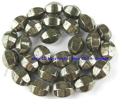 100% Natural 10x14mm Hexagonal Rice Pyrite Beads 15''