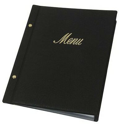 Black faux leather menu Covers with 10 pockets