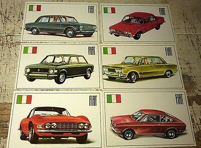 FIAT - Famous Cars by Top Sellers Ltd UK Trade Cards RARE - DINO , 500 , 124 etc