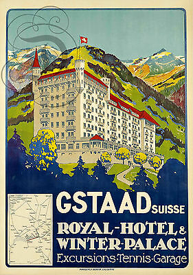 Repro Affiche Gstaad Hotel Royal Winter Palace Suisse Papier 310 Ou 190 Grs