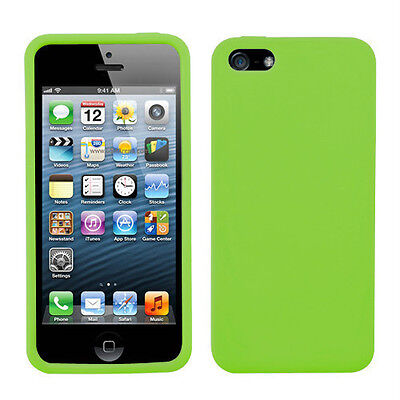 Green TPU Rubber Soft Silicone Gel Skin Case Cover for iPhone 5 & Car charger