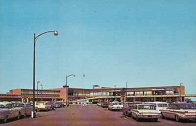 Weir Cook Municipal Airport, Indianapolis, Indiana, Cars Building Plane Postcard