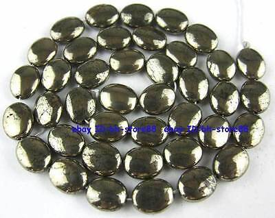 100% Natural 8x10mm Oval Flat Pyrite Beads 15''