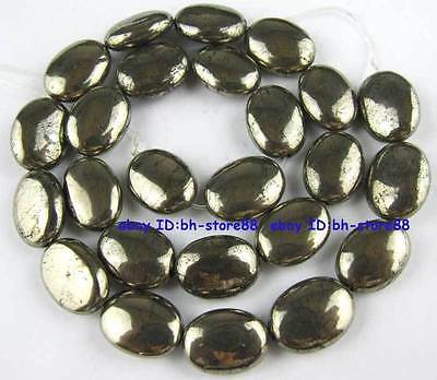 100% Natural 12x16mm Oval Flat Pyrite Beads 15''