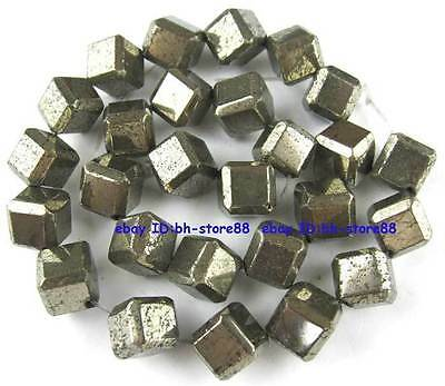 100% Natural 11x11mm Square Side Scrap Pyrite Beads 15''