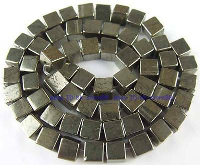 Cube 100% Natura 6x6mm Square Pyrite Loose Gemstone Beads 15''