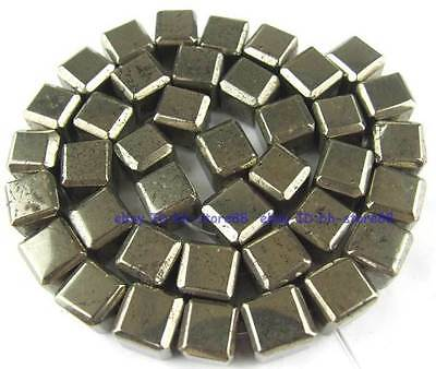 100% Cut Natura 10mm Square Angle Cut Pyrite Gemstone Beads 15''
