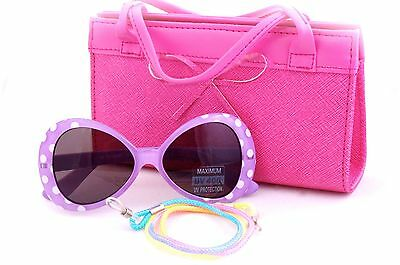 Kids Sunglasses and Bag Gift Set in Polka Dots Design