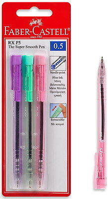 FABER-CASTELL RX P5  NEEDLE POINT BLUE INK RETRACTABLE PEN 3pcs IN BLISTER CARD