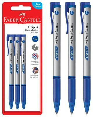 FABER-CASTELL GRIP X10 ROLLER POINT BLUE INK  RETRACTABLE PEN 3pcs IN BLISTER