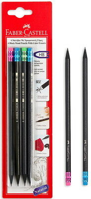 FABER-CASTELL NATURAL BLACK WOOD HB PENCILS WITH COLOUR ERASERS  4pcs IN BLISTER