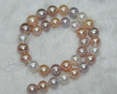 """Natural AAA+ 9-10MM multicolor round freshwater pearls loose Beads 15"""""""