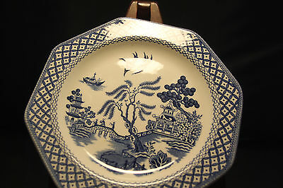 MEAKIN ROYAL STAFFORDSHIRE WILLOW Salad Plate Blue Octagon Ironstone England 7""