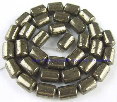 100% Natural 8x12mm Tube Hollow Pyrite Loose Beads 15''