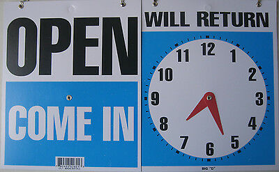 "Open Come In With Return Timer On Back sign 9""x12"" Blue flexible plastic 42601"