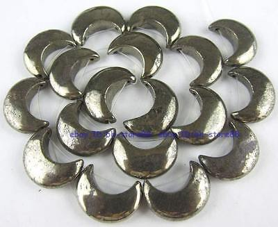 100% Natural 15x20mm Moon Pyrite Loose Beads 15.5''