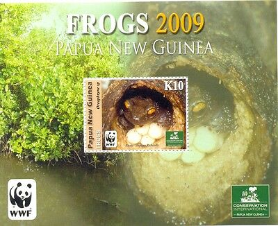 Papua New Guinea-Frogs-2009 min sheet WWF issue mnh