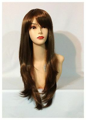 Stylish Long Wavy Wigs, Party, Cosplay, Fancy Dress, Ash Brown Colour