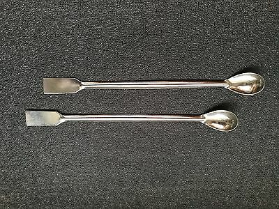 2pcs Stainless Steel Spatula Medical Spoon Lab Pharmacy 20cm, New