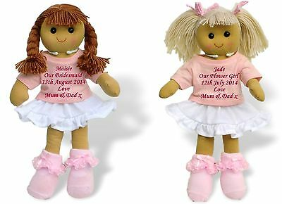 Personalised Rag Doll Bridesmaid Flower Girl Wedding Favour Dolly Gift
