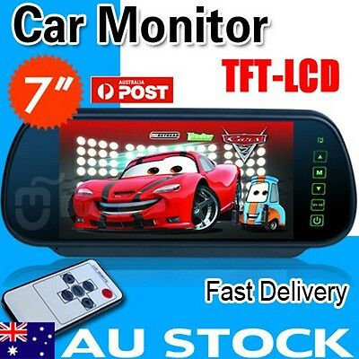 "7"" TFT Color Screen LCD Car Rear View Headrest Mirror Monitor For Car Camera AU"