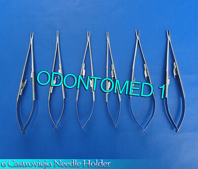 """6 Castroviejo Micro Surgery Needle Holder 8"""" W/Lock Surgical Instruments"""