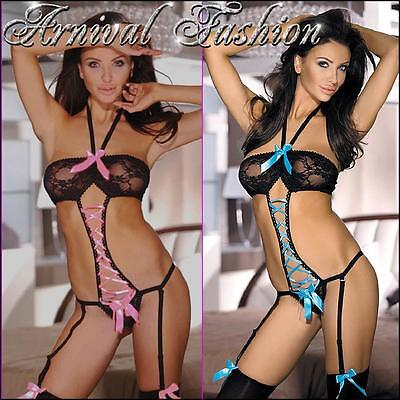 NEW SUSPENDER BODYSUIT LACY LINGERIE lace-up teddy LACE BODY garter PANTY laced