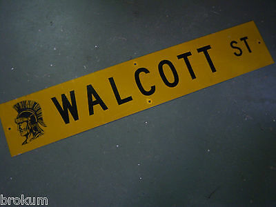 "Vintage ORIGINAL WALCOTT ST STREET SIGN 48"" X 9"" BLACK LETTERING ON YELLOW"