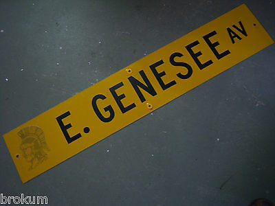 "Vintage ORIGINAL E. GENESEE AV STREET SIGN 48"" X 9"" BLACK LETTERING ON YELLOW"