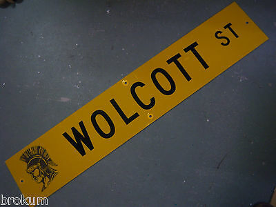 "Vintage ORIGINAL WOLCOTT ST STREET SIGN 48"" X 9"" BLACK LETTERING ON YELLOW"