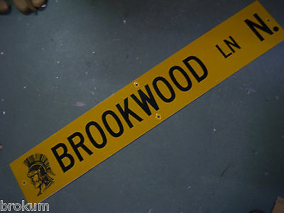 "Vintage ORIGINAL BROOKWOOD LN N. STREET SIGN 54"" X 9"" BLACK LETTERING ON YELLOW"