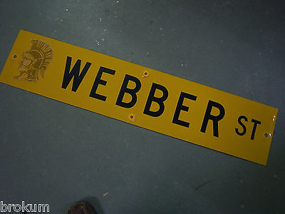 "Vintage ORIGINAL WEBBER ST STREET SIGN 42"" X 9"" BLACK LETTERING ON YELLOW"