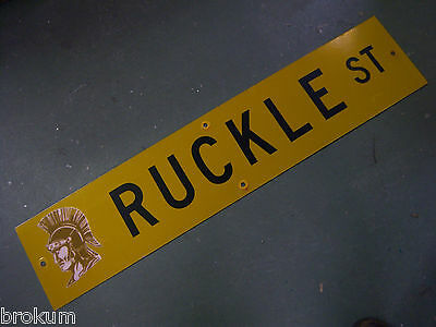 "Vintage ORIGINAL RUCKLE ST STREET SIGN 42"" X 9"" BLACK LETTERING ON YELLOW"