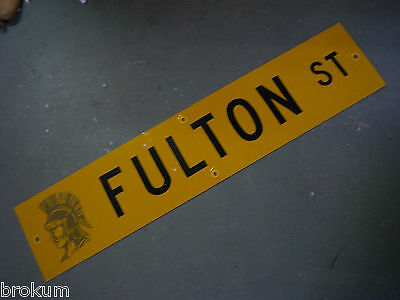 "Vintage ORIGINAL FULTON ST STREET SIGN 42"" X 9"" BLACK LETTERING ON YELLOW"