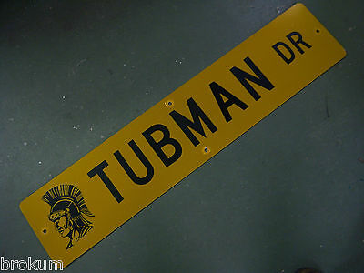 "Vintage ORIGINAL TUBMAN DR STREET SIGN 42"" X 9"" BLACK LETTERING ON YELLOW"