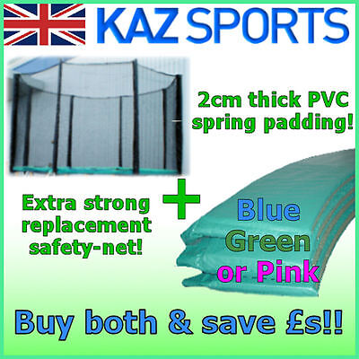 Replacement Pvc Trampoline Padding/pad/spring Cover/surround Net Combo Pack!