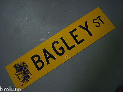 "Vintage ORIGINAL BAGLEY ST STREET SIGN 36"" X 9"" BLACK LETTERING ON YELLOW"