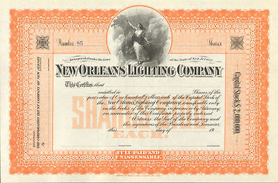 New Orleans Lighting Company   stock certificate share