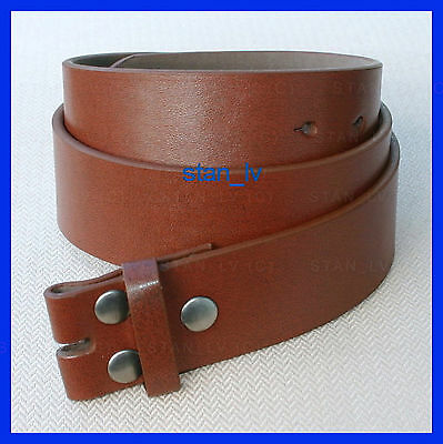 Brown Plain Leather Belt Strap Snap On No Buckle Casual Dress Mens Womens