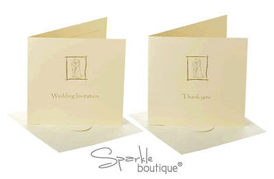 Wedding Invitations / Evening Reception / Thank You Cards - Ivory & Gold Design
