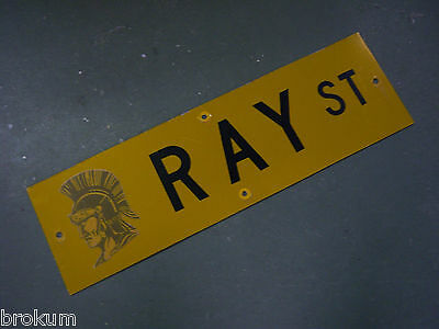 "Vintage ORIGINAL RAY ST STREET SIGN 30"" X 9"" BLACK LETTERING ON YELLOW"