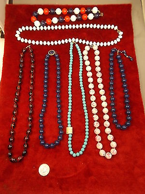 #32, LOT OF 7 OLD VTG NECKLACES, INCL RED/WHITE/BLUE, NAVY, BLACK/RED STRIPED+++
