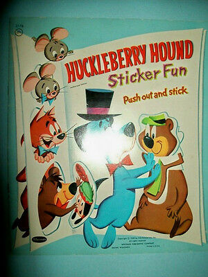 Vintage 1959 Huckleberry Hound Sticker Fun Book by Whitman with Yogi & Others