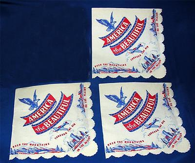 3 VTG 1940'S PATRIOTIC 4TH JULY, RED/WHITE/BLUE PAPER PARTY NAPKINS, CRAFTS
