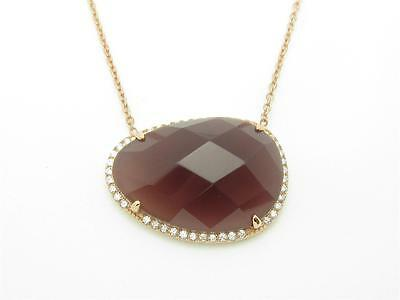 UNIQUE ROSE GOLD STERLING SILVER DIAMOND SET PAVE LARGE RESIN STONE PENDANT GIFT
