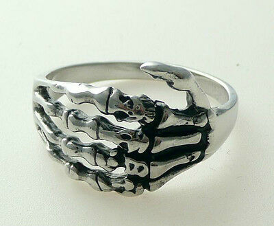 2PCS 316L Stainless Steel silver hand claw paw skull men's/boy's biker size 9&10