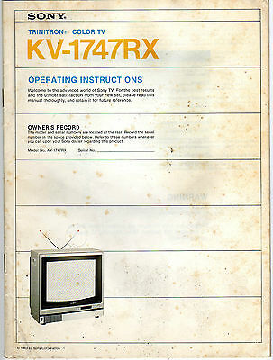 Vintage 1983 SONY Trinitron TV KV-1747RX Manual