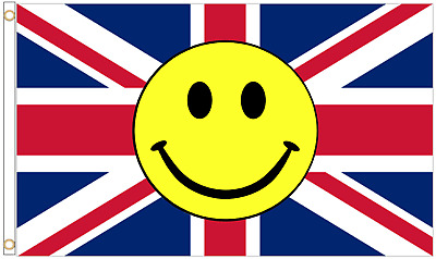 United Kingdom UK Union Jack Smiley Face Emojie 5'x3' Flag