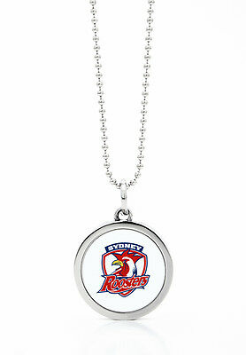 Sydney Roosters NRL Round Style Pendant on a Silver Chain Necklace